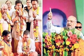 Rahul Gandhi offers prayers at the Maa Peetambara Peeth in MP on Monday and (right) Amit Shah addresses a rally. Photos: PTI
