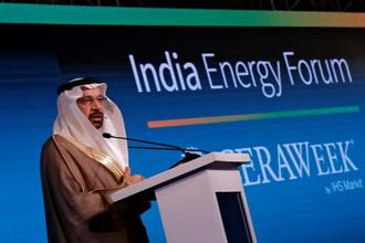 Saudi Energy Minister Khalid al-Falih addresses the gathering during India Energy Forum in New Delhi on October 15, 2018. Photo: Reuters