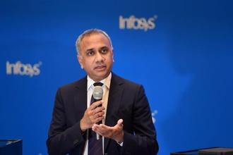 Infosys CEO Salil Parekh. For the first time in its history, Infosys won over $2 billion in new deals in a quarter. Photo: PTI