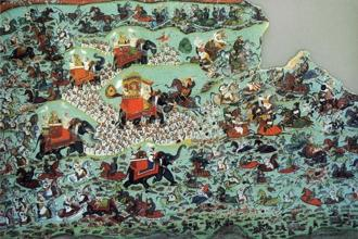 The Battle of Haldighati, depicted in a painting in 1822. Photo: Wikimedia Commons