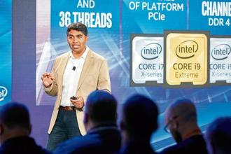Anand Srivatsa, vice-president of desktop, systems and channel at Intel Corporation, during the keynote presentation at the company's Fall Desktop Launch in New York.