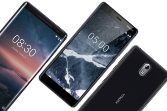 Pictured (L to R): Nokia 8 Sirocco, Nokia 5.1 and Nokia 3.1