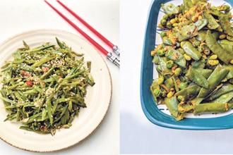Asian-style flat beans stir-fry; and Bhojpuri 'sem matar ki bhujia'. Photo: Nandita Iyer