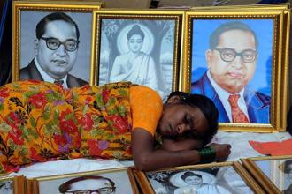Ragul and Awad represent the indignities of Dalit lives in their powerfully distinctive styles. Photo: Getty Images