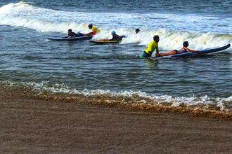 Differently-abled children learning how to surf. Photo: Radhika Iyengar/Mint