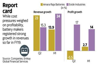 While cost pressures weighed on profitability, battery makers Amara Raja and Exide registered strong growth in revenue. Graphic: Mint