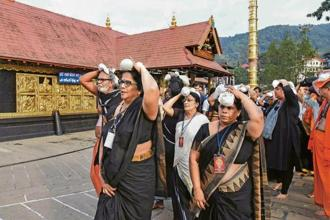 A file photo of a group of elderly women at Sabarimala temple. Photo: PTI