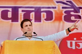Congress chief Rahul Gandhi addresses an election rally in Mahasamund on Tuesday. Photo: PTI