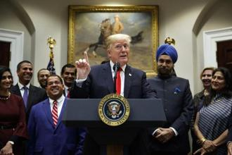 US President Donald Trump speaks during a Diwali ceremonial lighting of diya in the Roosevelt Room of the White House, on Tuesday. Photo: AP