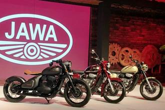 (From left) Jawa Perak, Jawa and Jawa Forty Two at their unveiling in Mumbai on Thursday.