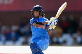 Harmanpreet Kaur during her knock against Australia in the semi-final of the 2017 Women's World Cup. Photo: Getty Images