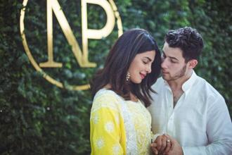 Priyanka Chopra with her American fiance Nick Jonas. The actress, who is now shooting for her next Hindi film 'The Sky Is Pink' in Delhi, took to Instagram to share her wedding registry.