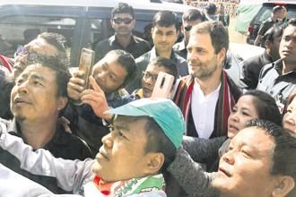 Congress chief Rahul Gandhi in Champai, Mizoram on Tuesday. Photo: PTI