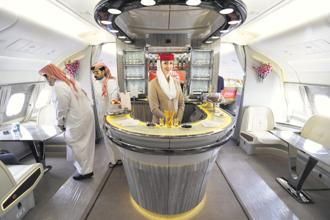 The inside of an Emirates airline's double-decker Airbus A380. Photo: AFP
