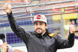 Alonso attending a fan event during the Japan Grand Prix in October. Photo: Reuters