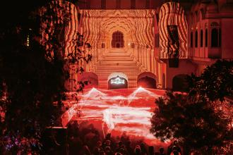 Magnetic Fields takes full advantage of its palatial venue of Alsisar Mahal, Rajasthan. Photo: Carys Lavin