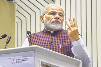 Prime Minister Narendra Modi speaks during the inauguration of the 4th Partners' Forum in New Delhi on Wednesday. Photo: PTI