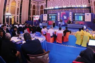 The auctions in progress. Photo: Twitter/IPL