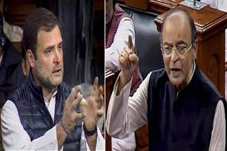 In Lok Sabha Congress president Rahul Gandhi (left) pushed for a joint parliamentary committee inquiry into the Rafale deal, a demand that finance minister vehemently opposed. Photo: PTI