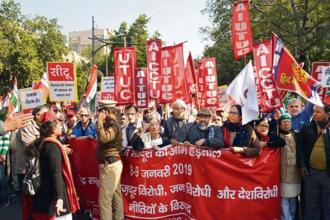 CITU members protest against alleged anti-worker policies of the government, in New Delhi on Wednesday. Ramesh Pathania/Mint