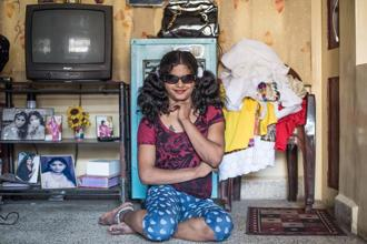 One of Steevez Rodriguez's portraits of transwomen at home made in collaboration with Aravani Art Project.