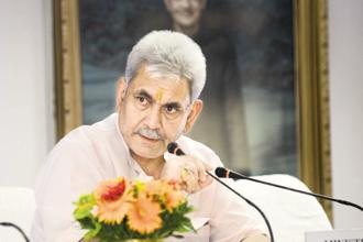 Minister of State for Railways Manoj sinha at inaguration and launching of e-enabled project management and information system(PMIS) at Rail Bhavan. Photo: Ramesh Pathania