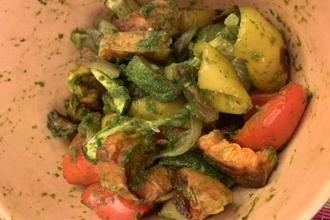 Roast vegetables with chimichurri sauce.