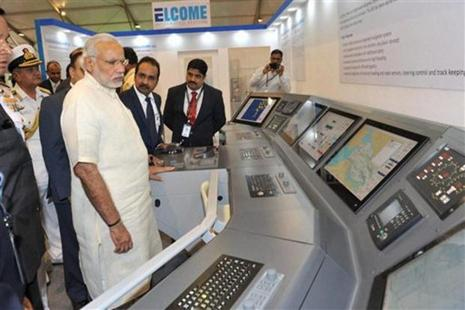 Prime Minister Narendra Modi in the Maritime Exhibition at the venue of the International Fleet Review in Visakhapatnam. Photo: AP/PTI