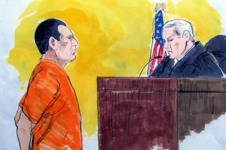 A file photo of a courtroom drawing shows David Coleman Headley facing a US District Court Judge on March 18, 2010 in Chicago. Headley is currently serving 35 years prison sentence in the US for his role in the Mumbai terror attacks. Photo: AFP