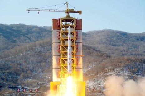 A photo released on Sunday by Japan's Kyodo News shows a North Korean long-range rocket being launched into the air at the Sohae rocket launch site, North Korea. Photo: Reuters