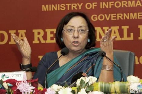 A file photo of Union minister of minority affairs Najma Heptulla, who said she will launch the USTTAD scheme to retain the indigenous skills of traditional art and craft. Photo: PTI