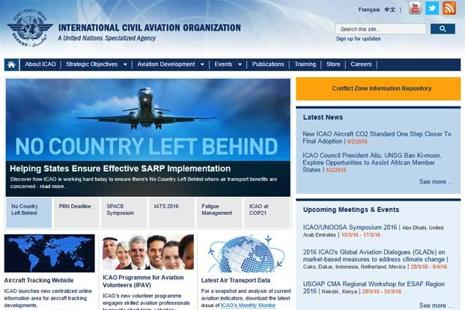 A screen grab of ICAO website.