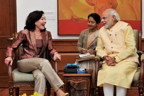 Oracle Corp. chief executive officer Safra Catz meets Prime Minister Narendra Modi in New Delhi on Friday. Photo: PTI