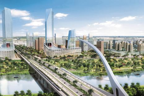 An artist's impression of Andhra Pradesh's new capital region Amaravati.
