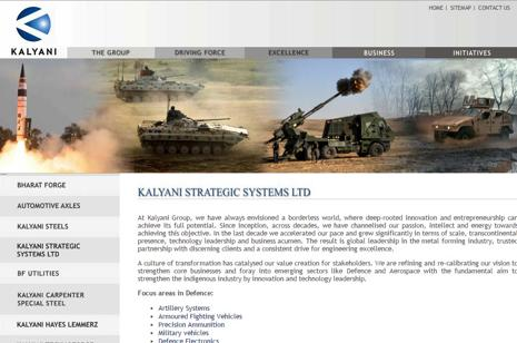 A screen grab of Kalyani Strategic Systems website