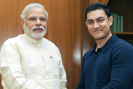 A file photo of Aamir Khan meeting Narendra Modi. Photo: Hindustan Times
