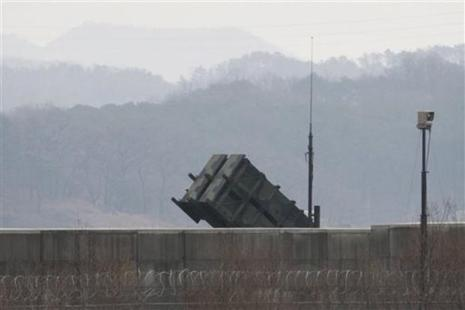 A US Patriot missile is seen at the Osan US Air Base in Pyeongtaek, South Korea on 13 February 2016. Photo: AP