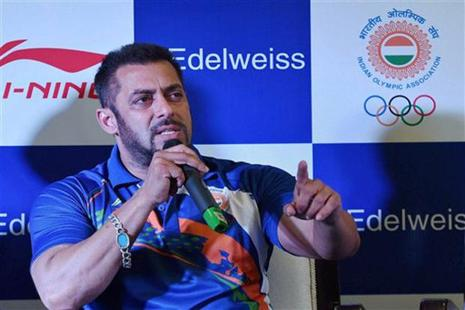 The negative feedback to its decision to appoint Salman Khan as the Indian Olympic contingent's goodwill ambassador must have come as a nasty surprise. Photo: PTI