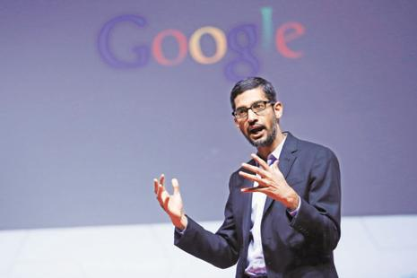 Sundar Pichai was, in part, talking his own playbook because Google has been working on AI and related technology for years and this advanced software already powers web services and apps such as Google Photos and Google Translate.  Photo: Bloomberg