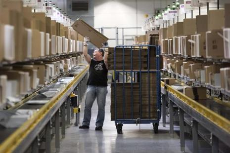 A file photo of a distribution center of Amazon in Germany. European sellers on Amazon Marketplace can now ship inventory to one of Amazon's 29 distribution centers on the continent. Photo: AP