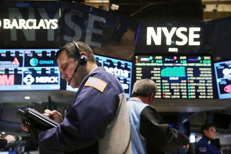 Nine of the 10 major S&P sectors were lower, with the energy index's 2.3% fall leading the decliners. The financial index was also down 2.1%. Photo: Getty Images/AFP