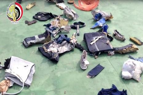 This file still image taken from video posted Saturday on the official Facebook page of the Egyptian Armed Forces spokesman shows some personal belongings and other wreckage from EgyptAir flight. Photo: AP
