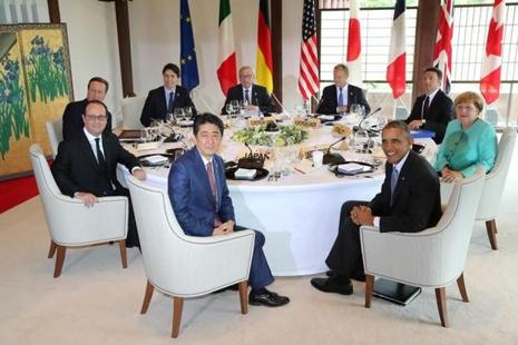Participants of the G7 summit meetings attend session 1 working lunch meeting in Japan. Photo: Reuters