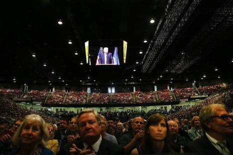 """Any regulation that's outdated, unnecessary, bad for workers or contrary to the national interest will be scrapped and scrapped completely,"" Trump told about 7,700 people at the Williston Basin Petroleum Conference in the capital of oil-rich North Dakota. Photo: AFP"
