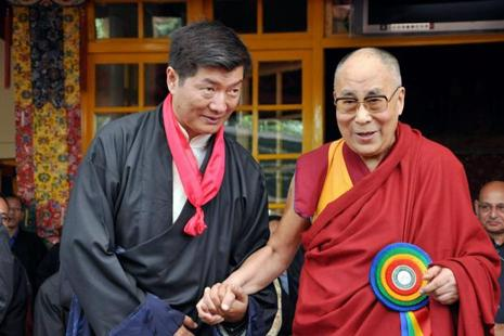 Prime Minister of the Tibetan government-in-exile meets the Dalai Lama in Dharamsala on Friday. Photo: PTI