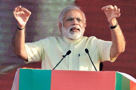 Narendra Modi flaunted the pro-poor and pro-farmer credentials of his two-year-old government in a speech that virtually launched the ruling coalition's campaign for the Uttar Pradesh assembly election next year. Photo: PTI