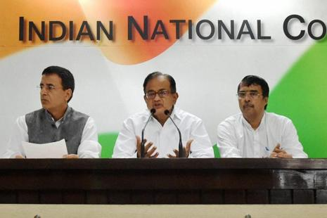 Former Union finance minister and Congress leader P. Chidambaram (centre) addressing a press conference on two years of the NDA government. Photo: PTI