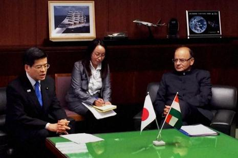 Finance minister Arun Jaitley with minister of land, infrastructure, transport and tourism Keiichi Ishii at a meeting in Tokyo on Monday. Photo: PTI