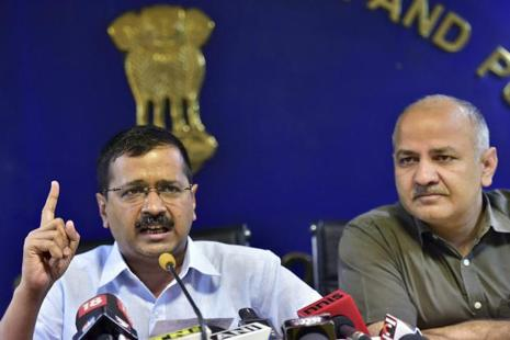 A file photo of Delhi chief minister Arvind Kejriwal with his deputy Manish Sisodia at a press conference in New Delhi on Tuesday. Photo: PTI