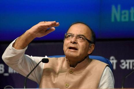 Finance minister Arun Jaitley at a press conference regarding the Union cabinet's approval of recommendations of the Seventh Pay Commission, in New Delhi on Wednesday. Photo: PTI